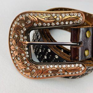 Nocona Brown Leather Belt Rhinestones Studs Large
